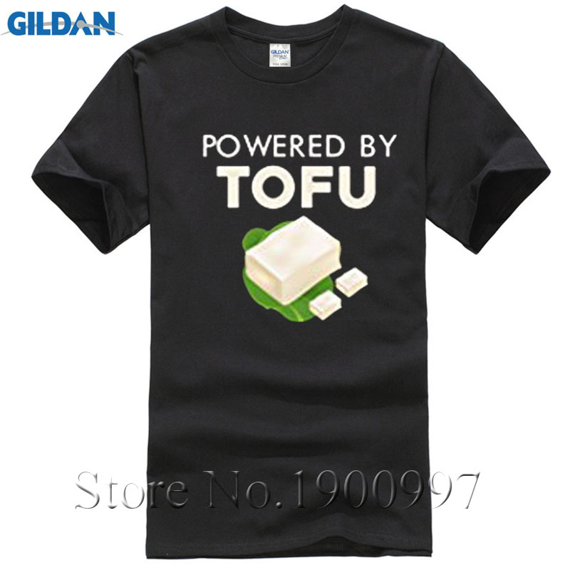 2017 Yeni Varış Komik Mens Serin Tops O Boyun T-Shirt Powered By Tofu Vejetaryen Vegan T-shirt Yüksek Kalite