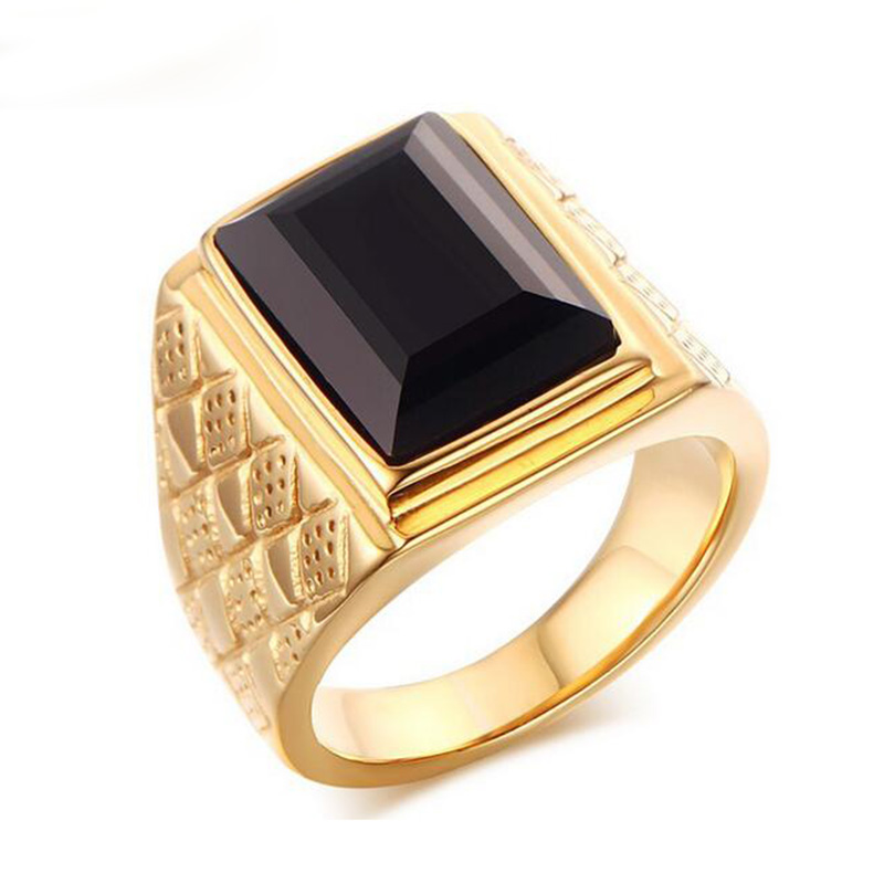 Large Stone Ring for Men Male Black Stone Ring Quality Gold-Color Titanium Jewelry Ring Wholesale