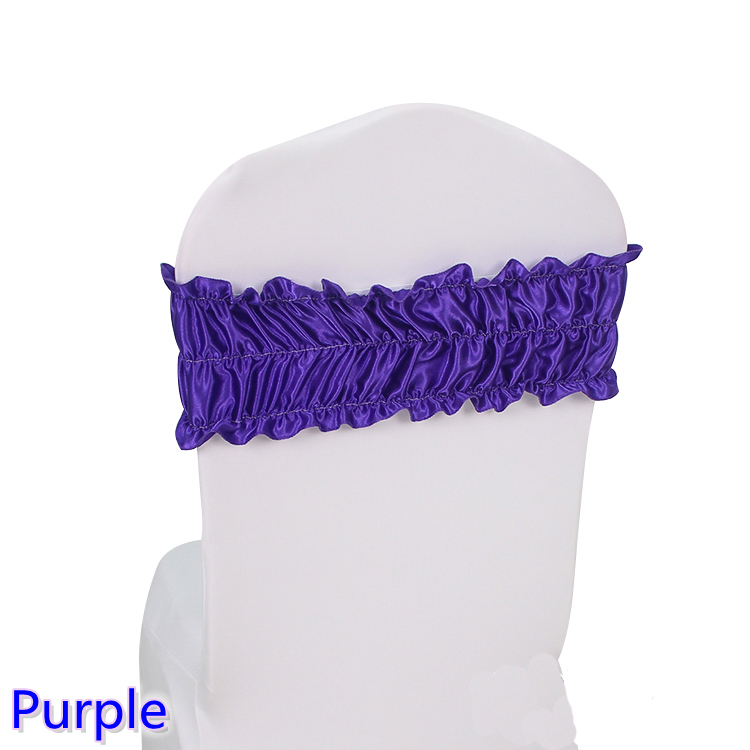 Purple sash wedding chair sash pleated spandex sash for chair covers fit for all chairs for wedding,banquet,party decoration