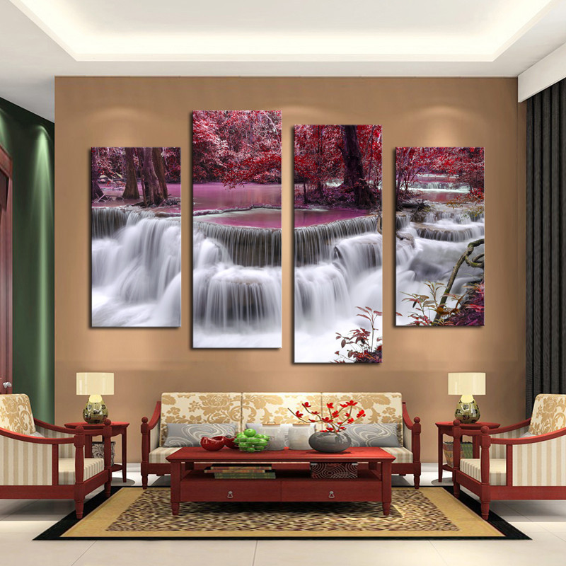 4 panel sets beautiful waterfall landscape painting flowers modern pictures on canvas artwork print customized picture Unframed
