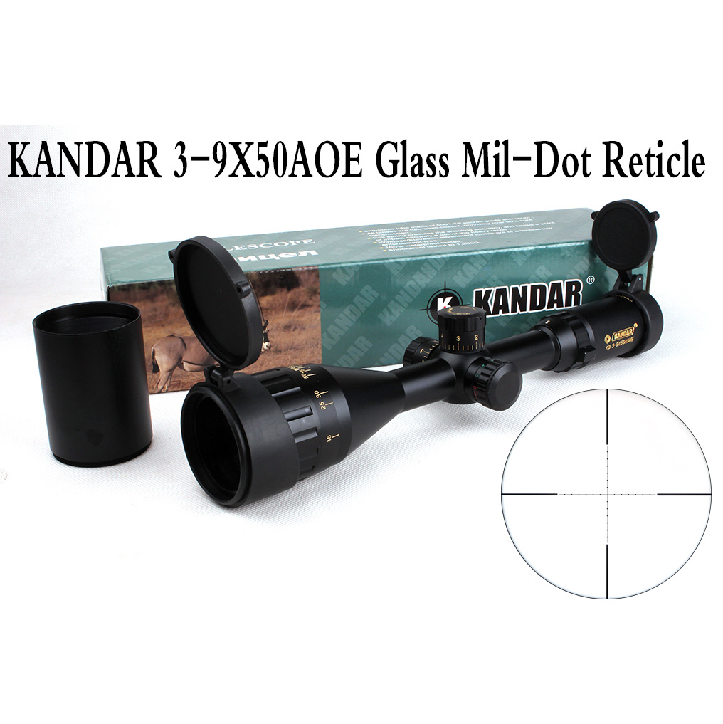 Taktik Optik Sight Gold Edition KANDAR 3-9x50 AOME Cam Mil-nokta Reticle Kilitleme Tüfek Av Tüfek Kapsam
