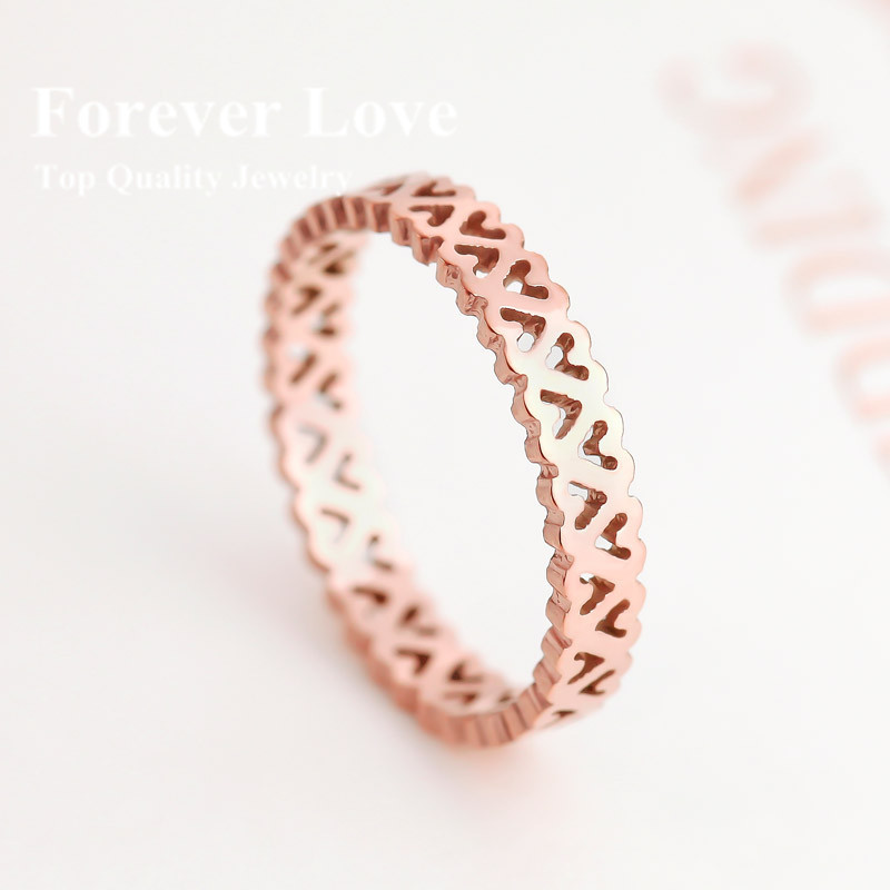 YUN RUO Elegant Hollow Heart Shape Ring 2015 New Design Titanium Steel & Rose Gold Color Fashion Jewelry Women Free Shipping