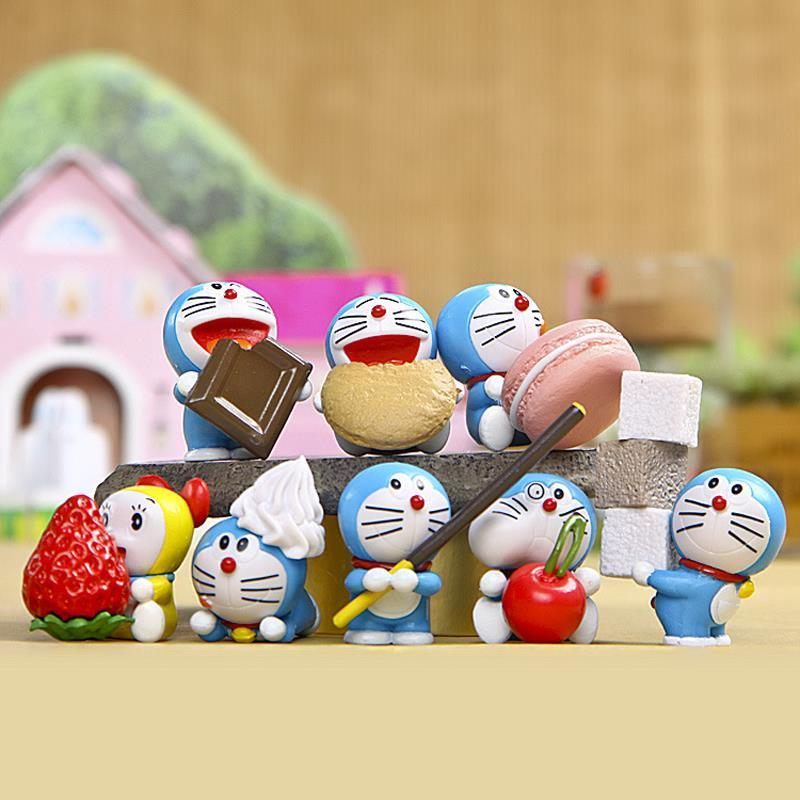 8pcs/lot Doraemon Mini Figures Cute Doraemon With Cookies PVC Action Figure Toys Collection Model Toy for Kids Birthday Gift