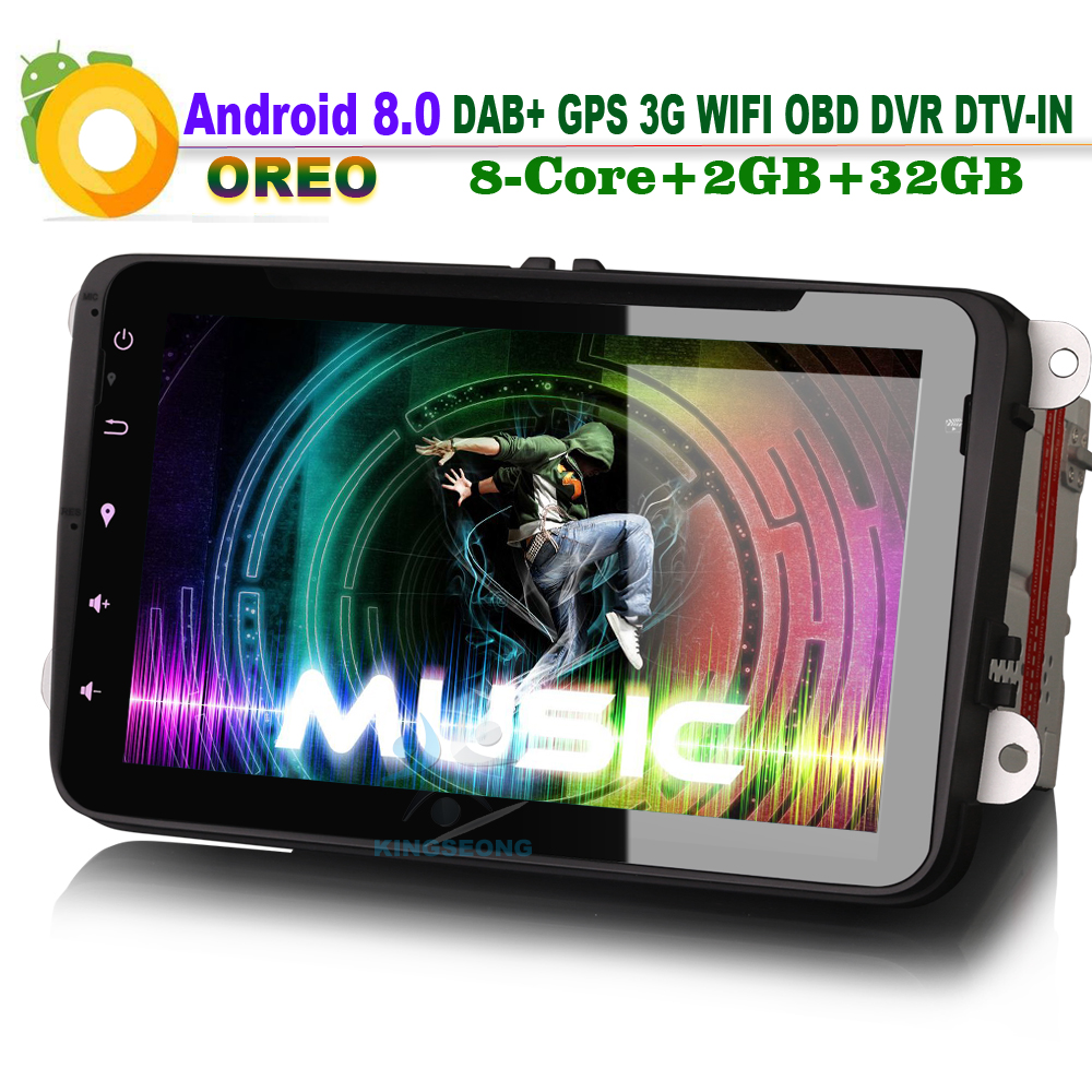 8-Core 8 KOLTUK Altea için Android 8.0 GPS Navigasyon VW Touran Tiguan Araba DVD CD Çalar Radyo DAB + MP3 Bluetooth DVB-T DVR 3G OBD
